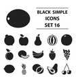 fruits set icons in black style big collection vector image vector image