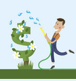 gardener watering a dollar tree vector image