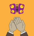 hands and butterfly vector image vector image