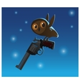Little cute owl stole the big gun blue background vector image vector image