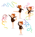 Little girl gymnast practicing with a ribbon on vector image