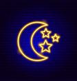 night moon stars neon sign vector image