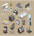 office room furniture icon set isometric style vector image