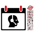 Operator Calendar Day Flat Icon With Bonus vector image vector image