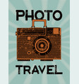 photo travel camera-suitcase retro grunge poster vector image