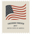 postage stamp with the image of the american flag vector image vector image