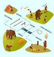 primitive people infographics vector image vector image