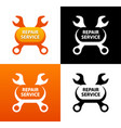 repair service emblem with crest of wrenches vector image vector image