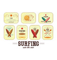 retro surfing labels vector image