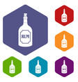 rum icons set hexagon vector image vector image