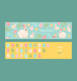 set easter banners with cute rabbits chickens vector image vector image