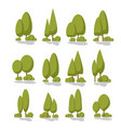 set flat trees in a flat design isolated on white vector image vector image