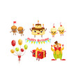 set humanized attributes for a birthday vector image vector image