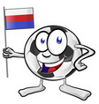 soccer ball cartoon with russian flag vector image vector image