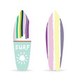 surfboard set with variuus icon on it color vector image