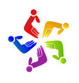 team abstract hands icon vector image vector image