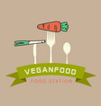 vegan food station ribbon carrot on fork backgroun vector image