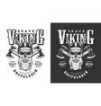 viking skull in horned helmet emblem vector image vector image