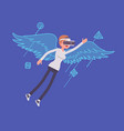 vr woman wing flying vector image