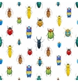 Watercolor bug beetle pattern vector image vector image