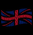 waving british flag collage of freedom fire torch vector image