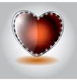 orange heart shaped glass button on valenti vector image