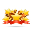 Gold stars with red ribbon space for your text vector image