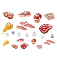 Cartoon cuts of meat and meat food vector image
