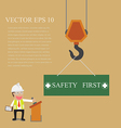 Businessman control crane hanging with safety sign vector image vector image