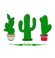 cactus set bright opuntia in pot vector image vector image