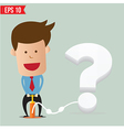 Cartoon Business man pumping question balloon vector image