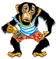 cartoon drunk chimp sailor vector image vector image