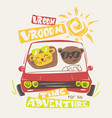 cute animals driving print design for apparel vector image vector image