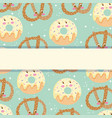 cute food pattern design bakery pretzel and vector image