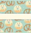 cute food pattern design bakery pretzel vector image vector image