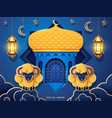 eid al-adha card with mosque and sheeps crescent vector image vector image