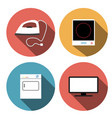 electric stove iron incubators and tv icons vector image vector image