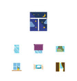 flat icon frame set of clean flowerpot curtain vector image