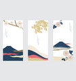 fuji mountain with camellia flower in japanese vector image vector image