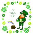 funny little leprechaun with a mug green beer vector image