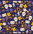 game magic icons in seamless pattern vector image vector image