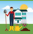 gardener front house planting tulip flower with vector image