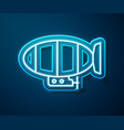 glowing neon line airship icon isolated on blue vector image vector image