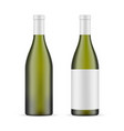 green glass wine bottle with label blank mockup vector image vector image
