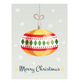 greeting card with a beautiful christmas toy vector image