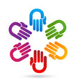 group of hands coming together icon vector image vector image