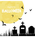 happy halloween bats grave full moon background ve vector image