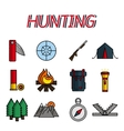 Hunting flat icons set vector image vector image