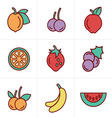 Icons Style Fruit Icons Set Design vector image vector image