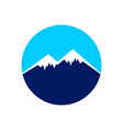 icy mountain top circle symbol design vector image